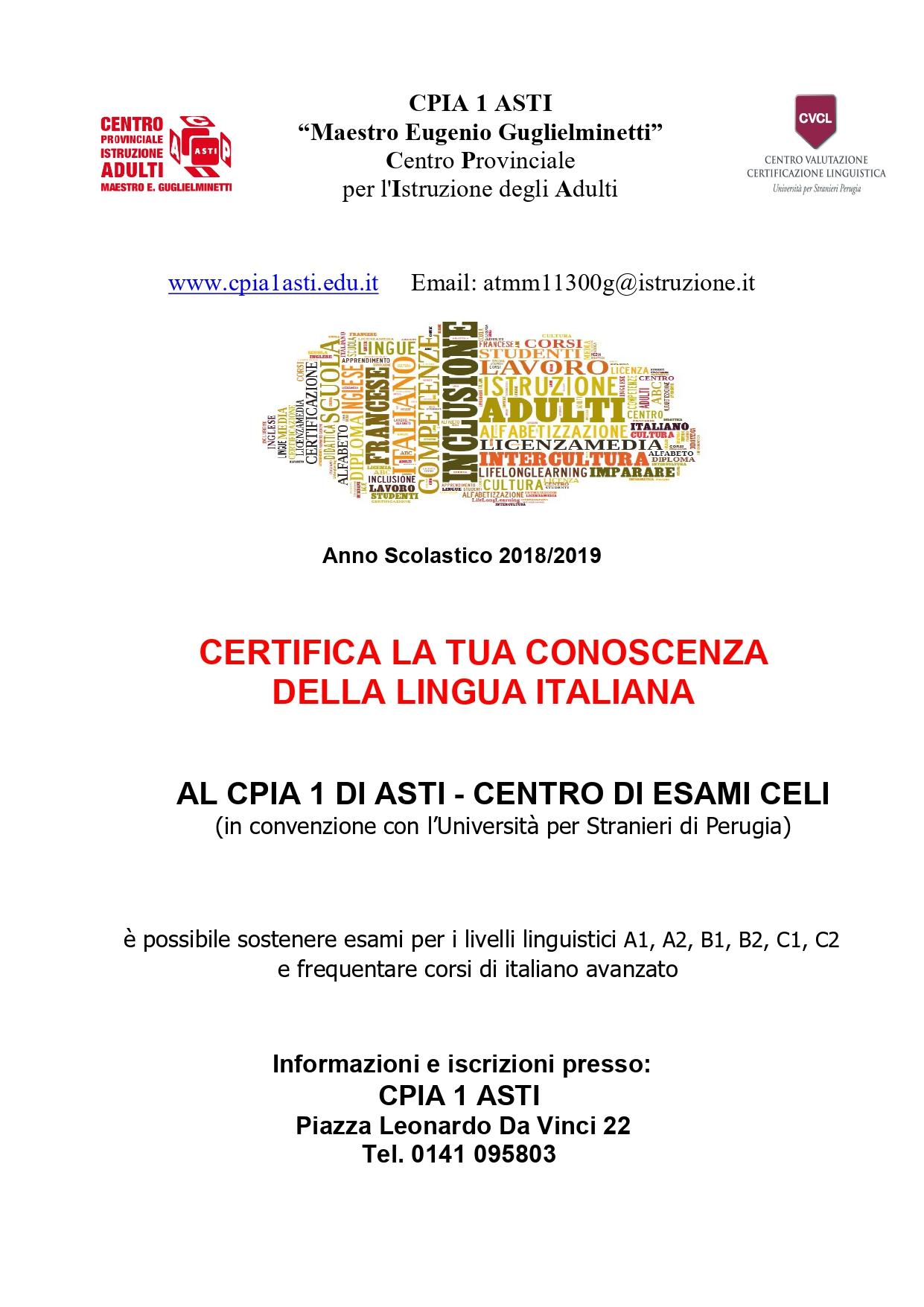 Corsi di lingua italiana e Certificazioni