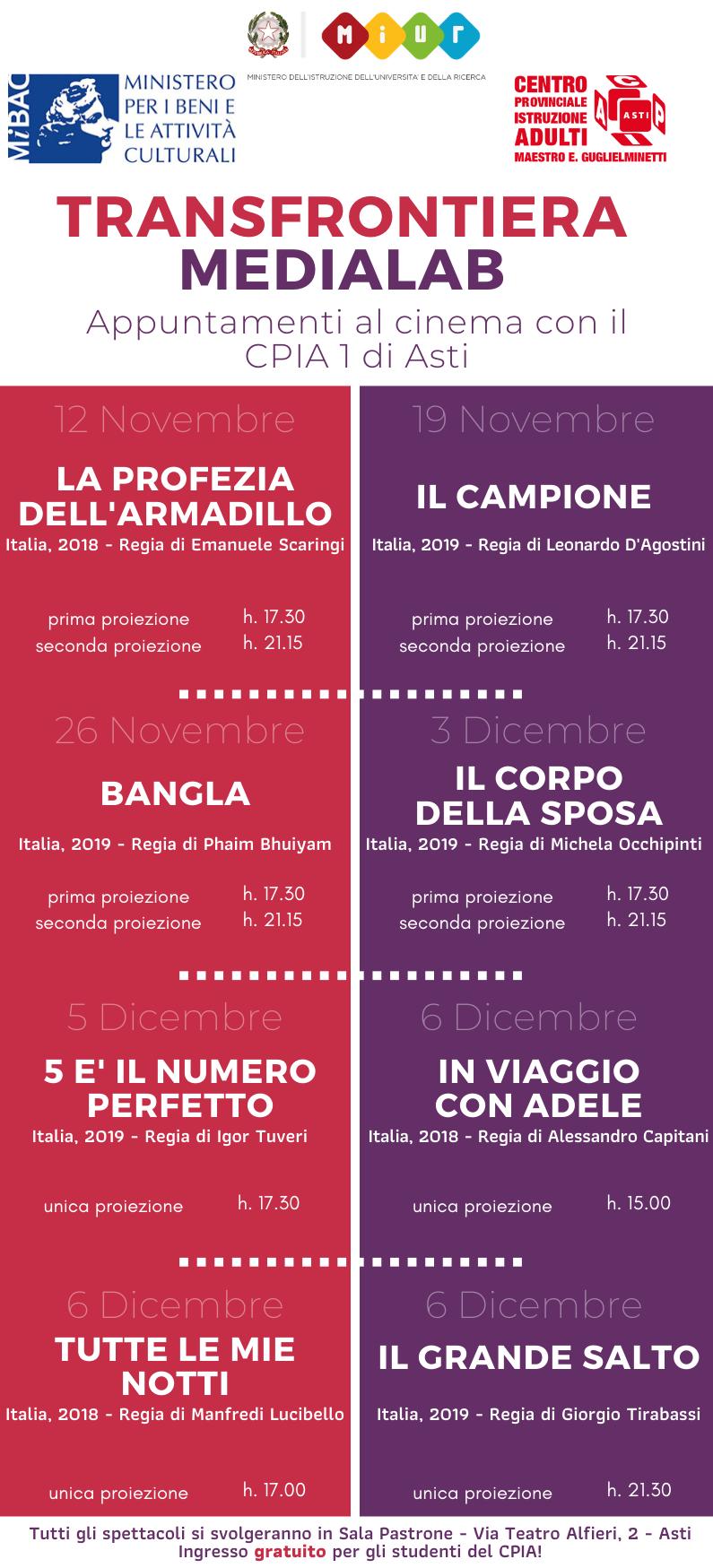 al Cinema con il CPIA – calendario completo