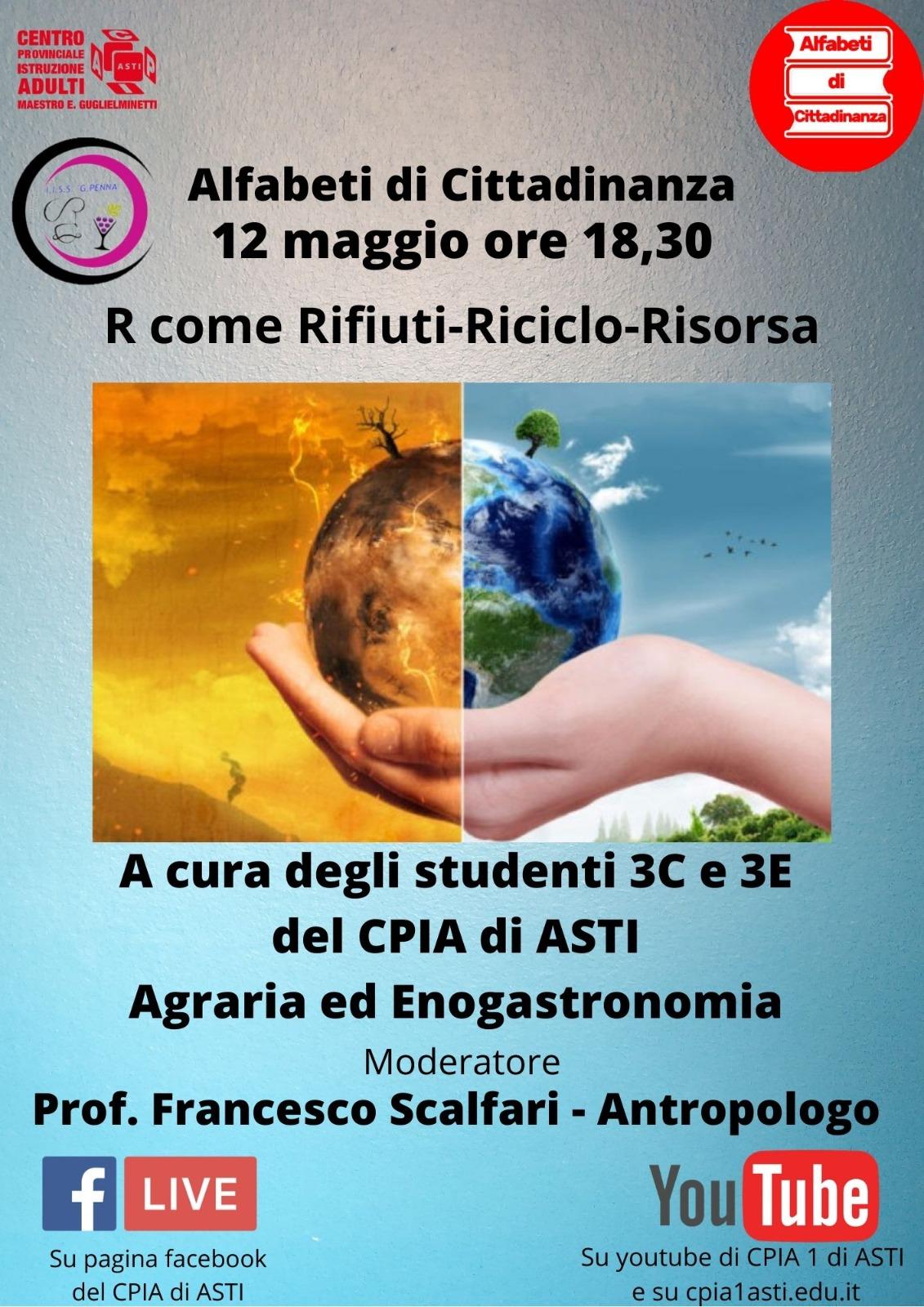 Alfabeti di Cittadinanza – R come Rifiuti/Riciclo/Risorsa – 12 Maggio