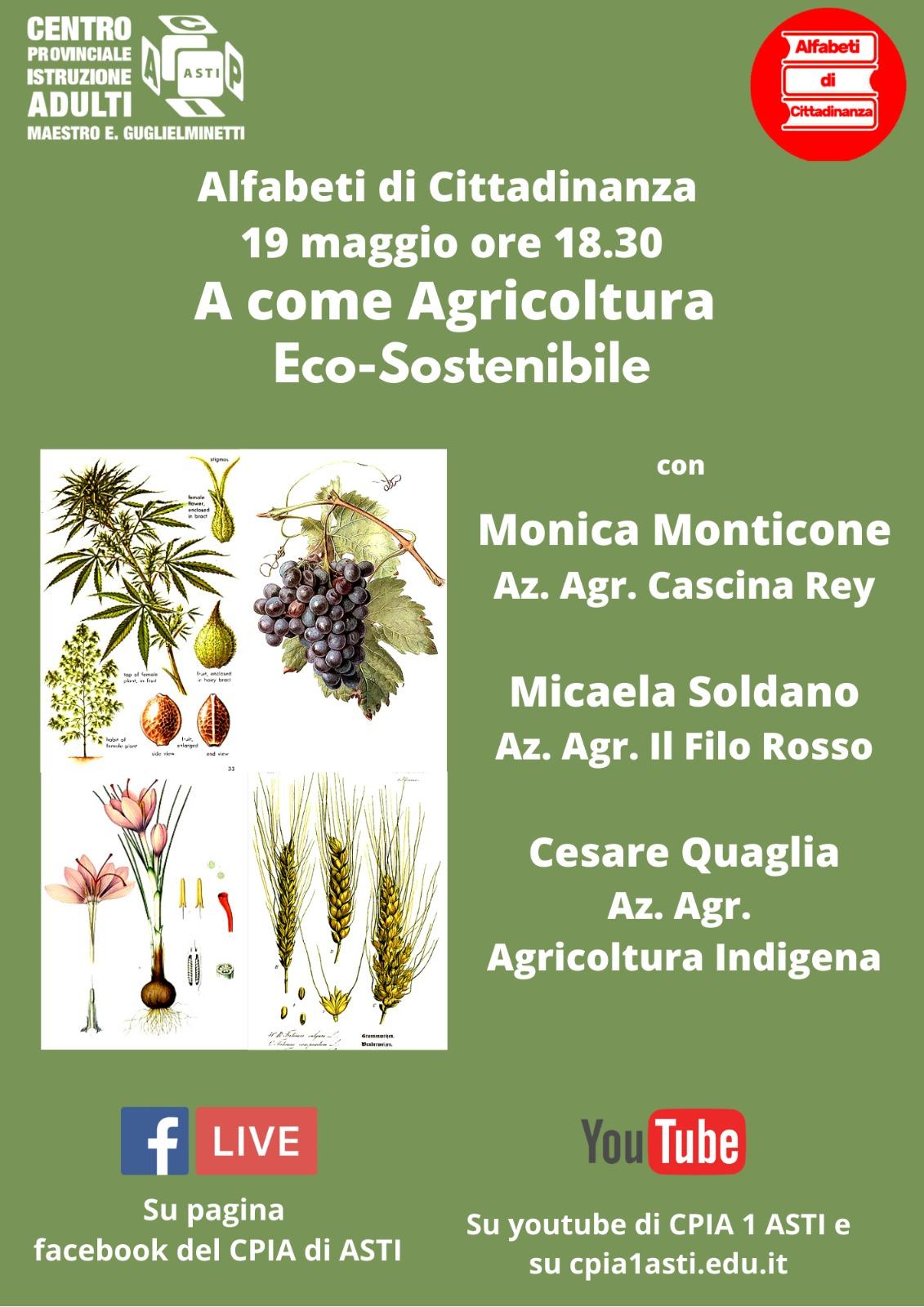 Alfabeti di Cittadinanza – A come Agricoltura Eco-Sostenibile – 19 maggio 2021